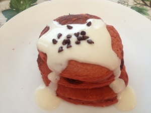 Red Velvet Pancakes w Cream Cheese Syrup
